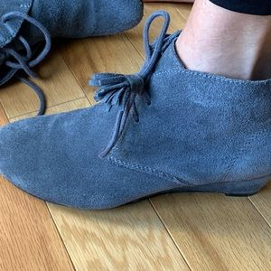 Grey suede wedge bootie